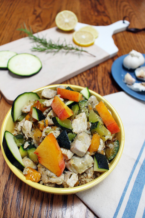 Chicken with Peaches, Rosemary, Lemon and Zucchini Recipe (Gluten Free, Dairy Free)