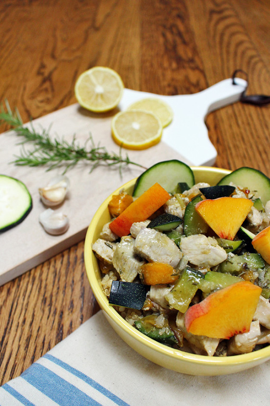 Chicken with Peaches, Zucchini, Rosemary, Lemon, Garlic | tiaskitchen.com