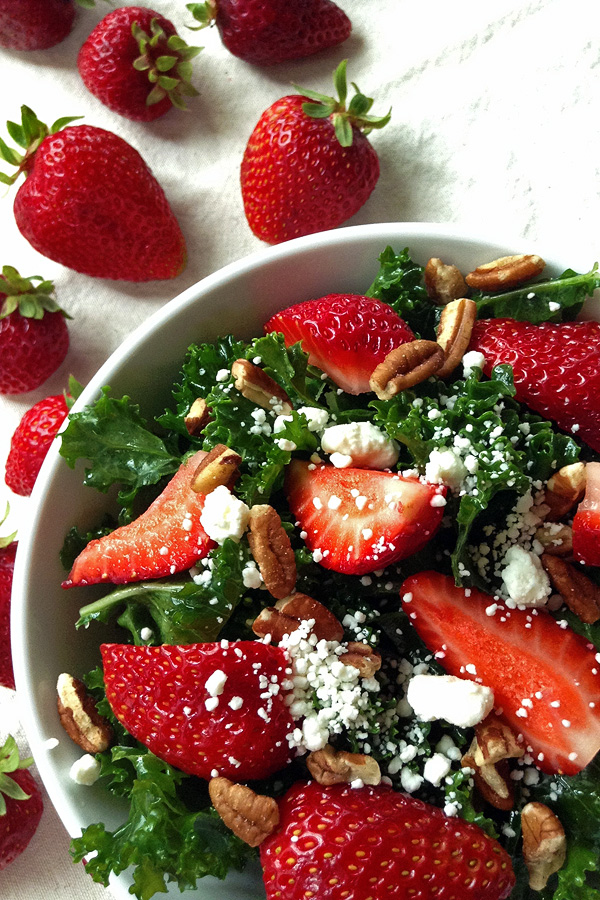Kale Salad with Strawberries  - The Best Way to Eat Kale. | tiaskitchen.com