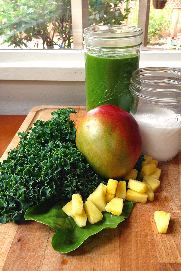 Tropical Green Smoothie Finished with Ingredients. This is so yummy and good for you. And it super easy to make. | tiaskitchen.com