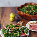 Kale Salad with Figs, Prosciutto, and Walnuts is a salty, sweet healthy, hearty salad for a warm summer evening. | tiaskitchen.com