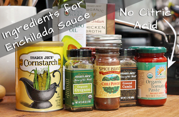 Ingredients for Easy Homemade Enchilada Sauce that is Gluten Free. Did you know enchilada sauce had gluten in it? | http://tiaskitchen.com/enchilada-sauce-recipe-gluten-free-dairy-free
