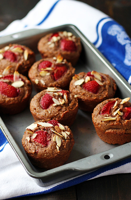 """Strawberries and """"Cream"""" Muffins are so smooth and sweet. A great breakfast or snack.  tiaskitchen.com/strawberries-cream-muffin-recipe-gluten-free-dairy-free-vegan"""