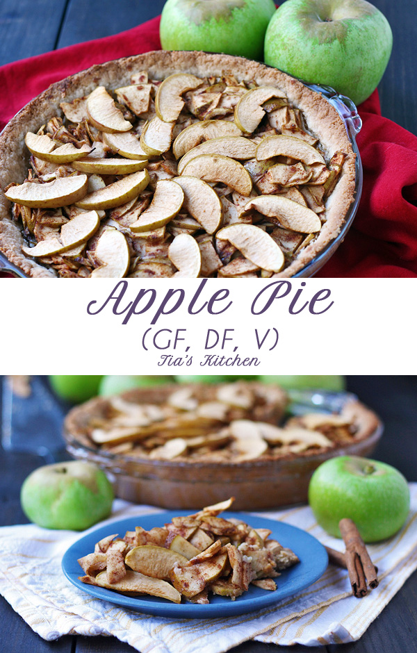 A fabulous and simple apple pie that is gluten free, dairy free and vegan. | tiaskitchen.com/apple-pie-recipe-gluten-free-dairy-free-vegan  #applepie #glutenfree #dairyfree #vegan