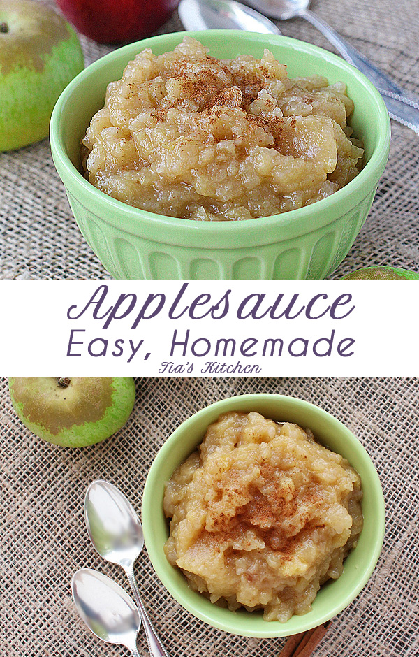 Simple, chunky applesauce recipe. It's so easy, you won't believe it. (Gluten Free, Dairy Free, Vegan) | tiaskitchen.com/easy-chunky-homemade-applesauce-grandmas-recipe-gluten-free-dairy-free-vegan #applesauce