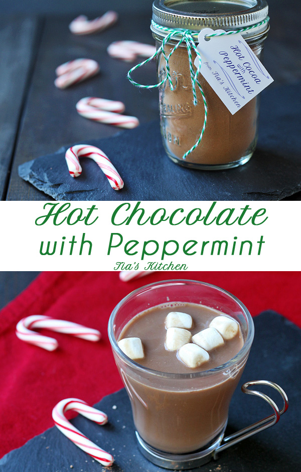 Easy, Homemade Hot Chocolate Recipe with Peppermint. Great for gift giving. | tiaskitchen.com/hot-chocolate-recipe-peppermint-optional #glutenfree #dairyfree #vegan #recipe #hotchocolate #hotcocoa