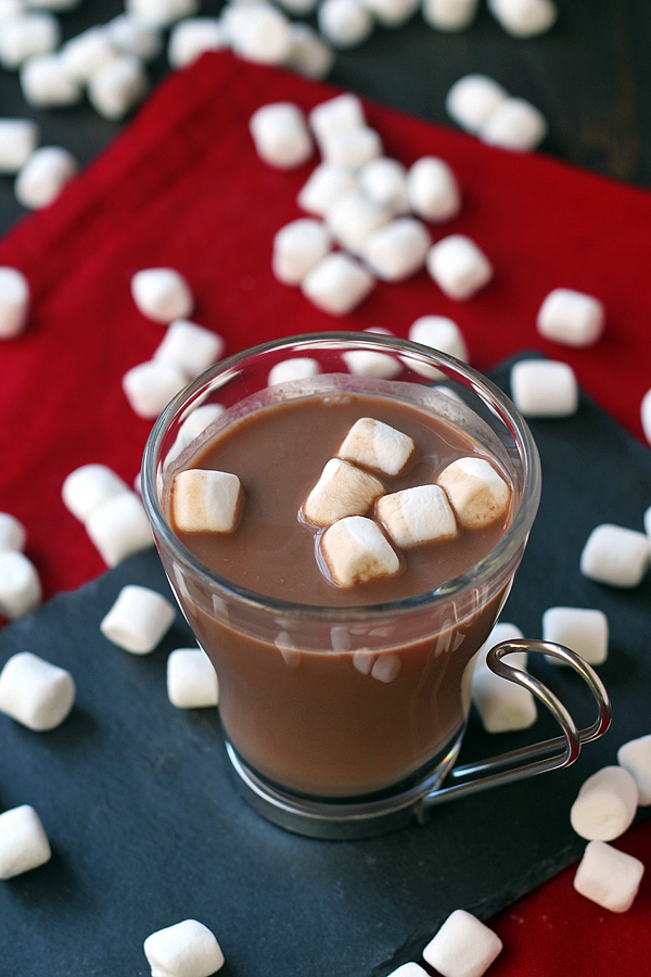 Easy, Homemade Hot Chocolate Recipe with Peppermint. Great for gift giving. | tiaskitchen.com/hot-chocolate-recipe-peppermint-optional
