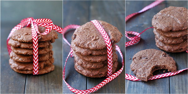 Chocolate Chocolate Chip Mint Cookies with a ribbon