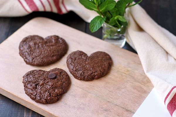 Chocolate Chocolate Chip Mint Cookies shaped like hearts