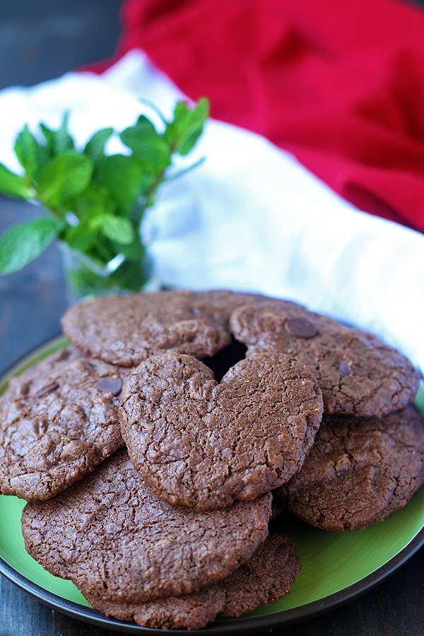 Chocolate Chocolate Chip Mint Cookies on a plate
