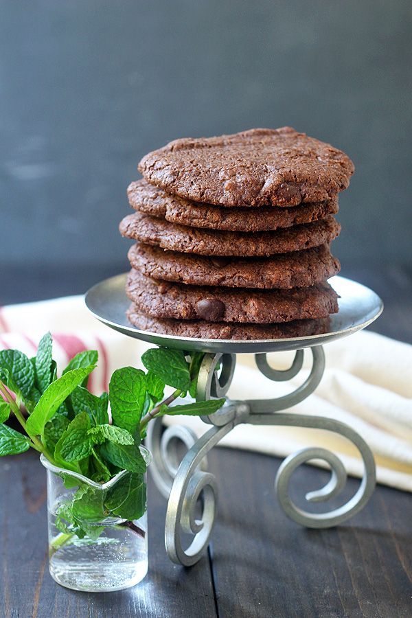 Chocolate Chocolate Chip Mint Cookies on a tray