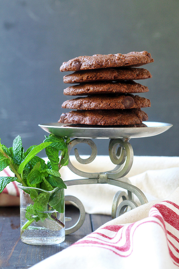 Amazing Chocolate Chocolate Chip Mint Cookies. They are vegan and gluten-free. And so, so good. CLICK Thru for recipe! | tiaskitchen.com/chocolate-chocolate-chip-mint-cookies