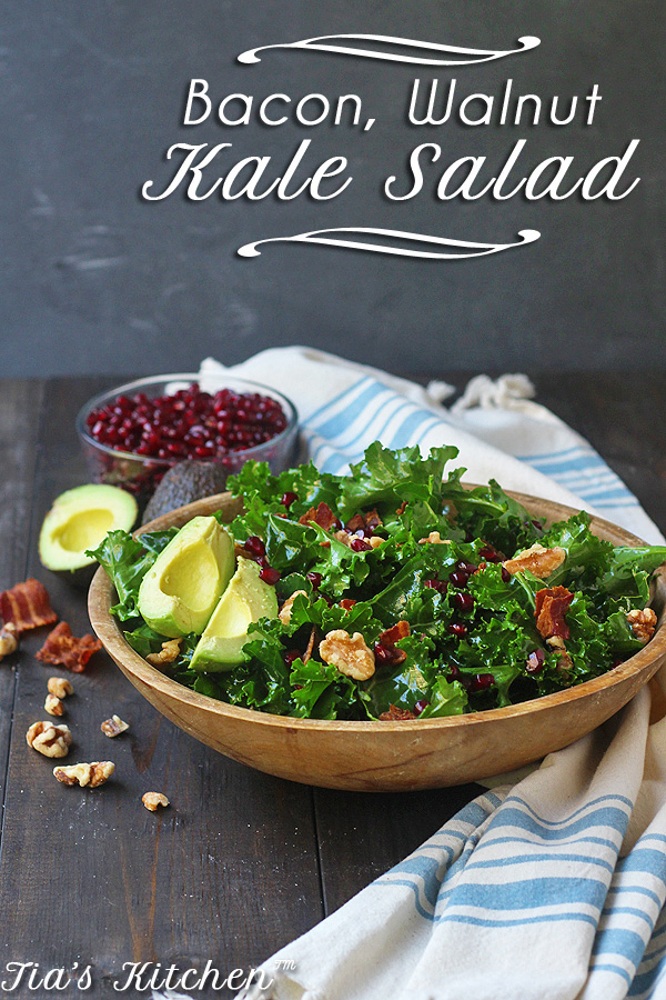 Amazing Kale Salad Recipe with BACON, Walnuts and Avocados is so easy and really delicious. A great side dish to any dinner. Of perfect on its own. CLICK THRU for the recipe! | tiaskitchen.com/kale-salad-recipe-with-bacon-walnuts-and-avocado-gluten-free-dairy-free
