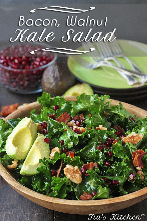 Kale Salad Recipe with Bacon, Walnuts, and Avocado