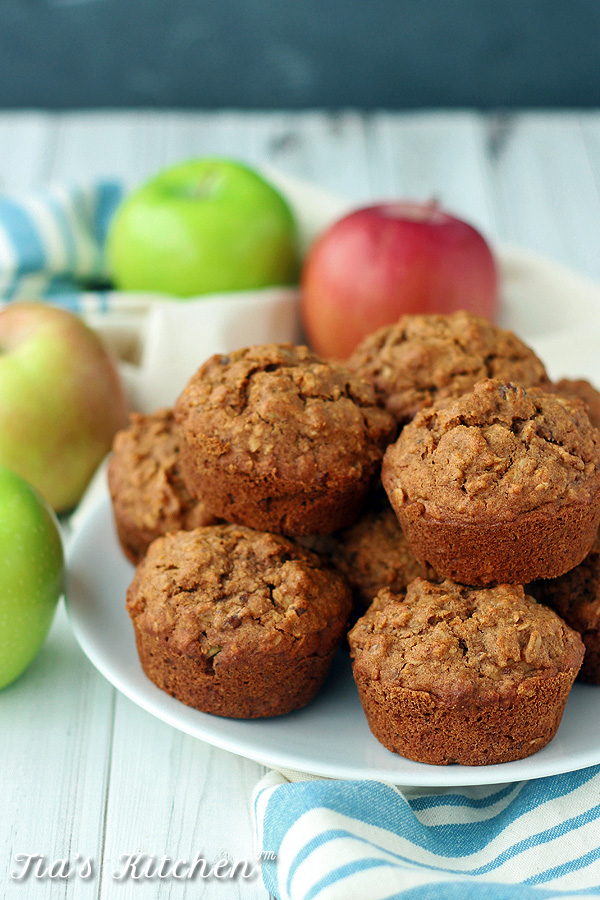 Great muffins for an on-the-go breakfast or snack. Or just anytime. Gluten Free Recipe. And Vegan Recipe. | tiaskitchen.com/apple-walnut-breakfast-muffins-gluten-free-vegan-recipe